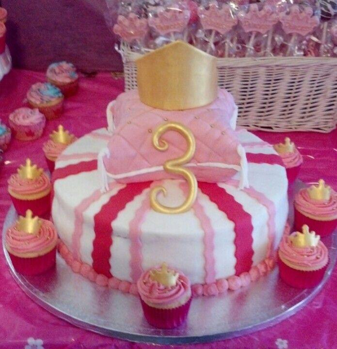 Princess Aurora cake w crown and cupcakes Edible Creations