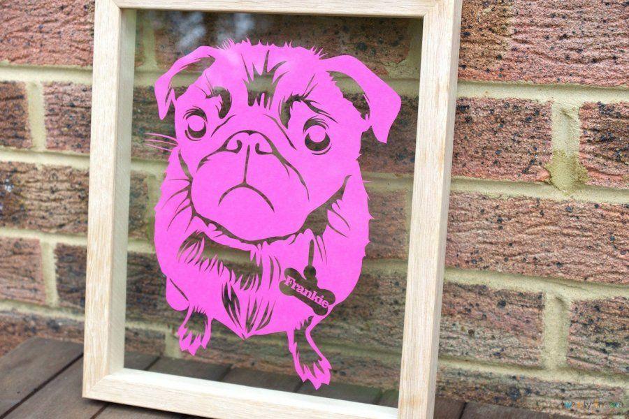 Oh my! Pink dog :) Personalised papercut. Oak frame & Fuchsia Pink paper