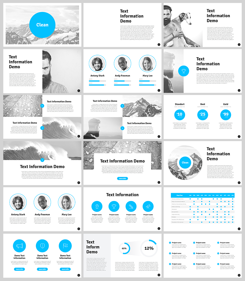 Free clean powerpoint template for designers with 18 for Free slide templates
