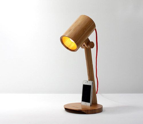Bamboo Led Desklamp With Iphone Holder Table By Wowawesomestuff Kap Lampu Lampu Desain Pencahayaan
