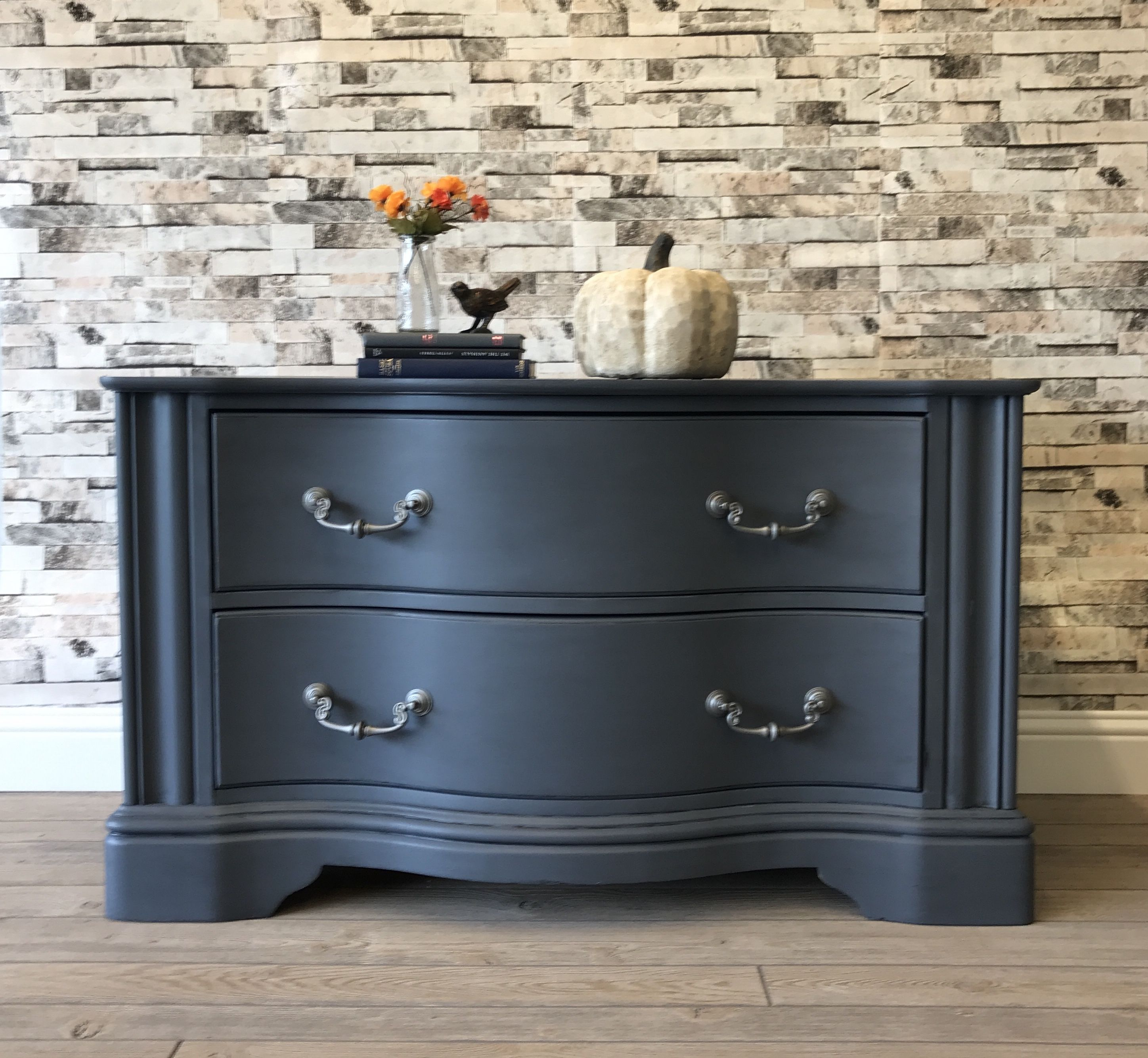 Fusion Mineral Paint In Soapstone With A Custom Soft Black Glaze