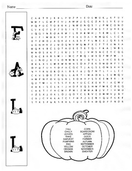 Fall Word Search Puzzle 5th Grade 6th