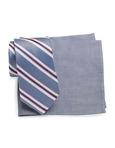 Tallia Orange Striped Tie and Pocket Square Set Men's Navy