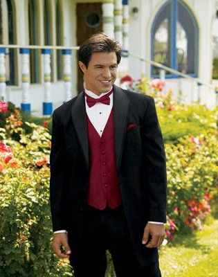 my lovey will wear, black tux, red bowtie. black shoes. and a ...