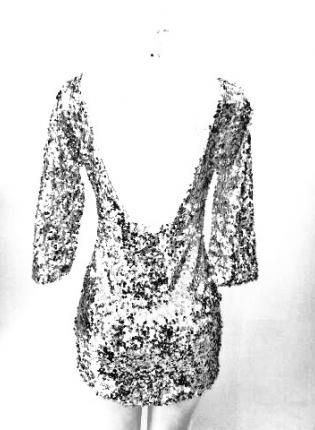 "Haute Silver 3/4"" Long Sleeve Deep V Back Silver Sequin Dres,  Dress, long sleeve sequin dress  silver sequin, Chic"