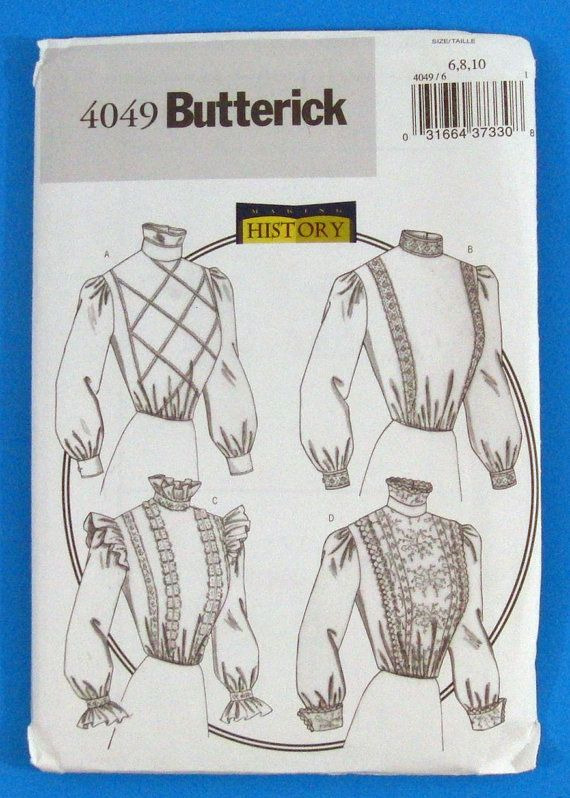 PIF Victorian Edwardian Blouse Sewing Pattern Butterick 4049 Sizes 6 ...