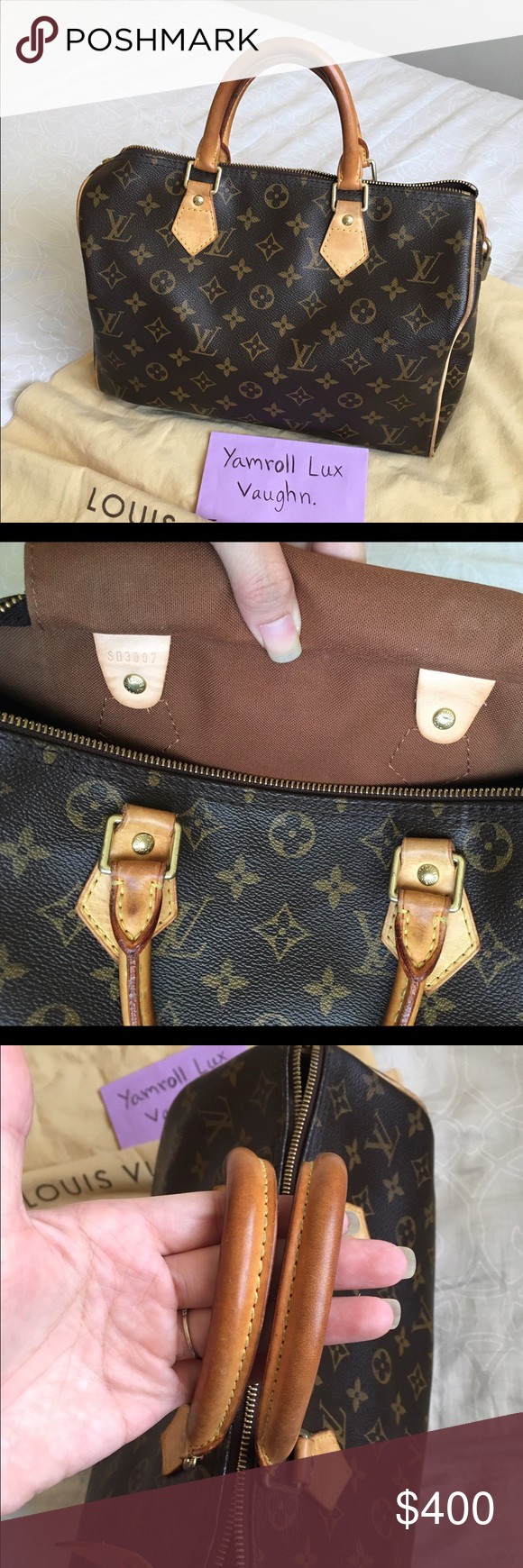❌SOLD❌ Authentic Lv Speedy 30 Overall is very good condition. Has some scuff on the pipeline and two small exposed on the corners but it can be fixed at Lv or using as is. Handles are pretty honey patina. Canvas is very shiny. Clean inside and out. No cracks or rips. Comes with dust bag and lock. No keys. 100% authentic guarantee. Louis Vuitton Bags Satchels