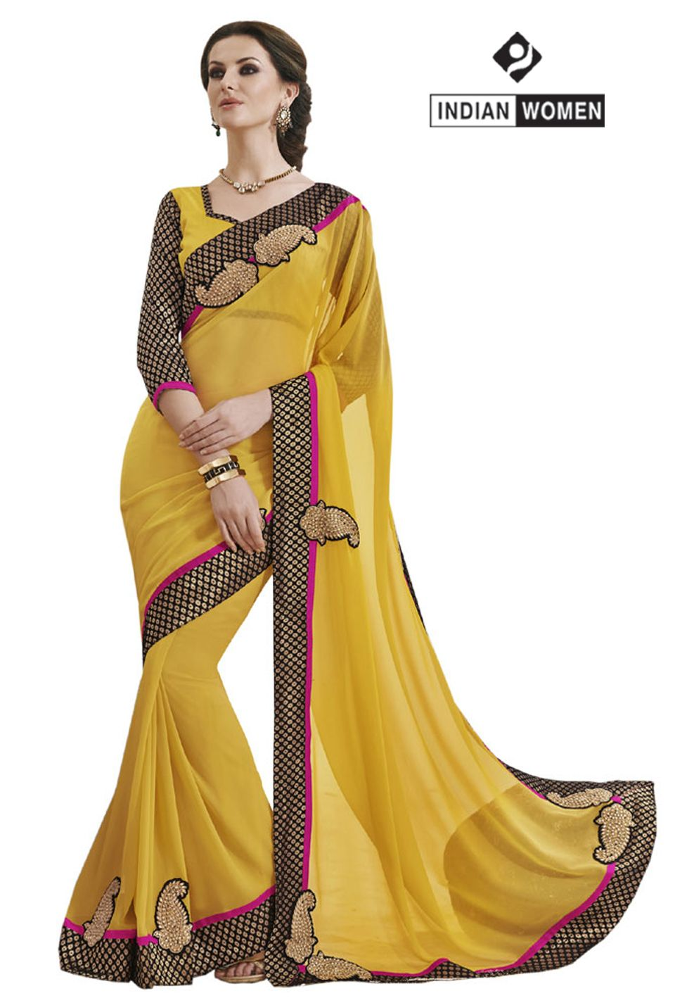 #Dazzling Yellow Saree !!  #Yellow Faux Georgette Saree designed with Resham Embroidery. As shown Yellow Brocade Blouse fabric is available.  INR : 1375 Only  Shop now @ http://goo.gl/aSvqdE