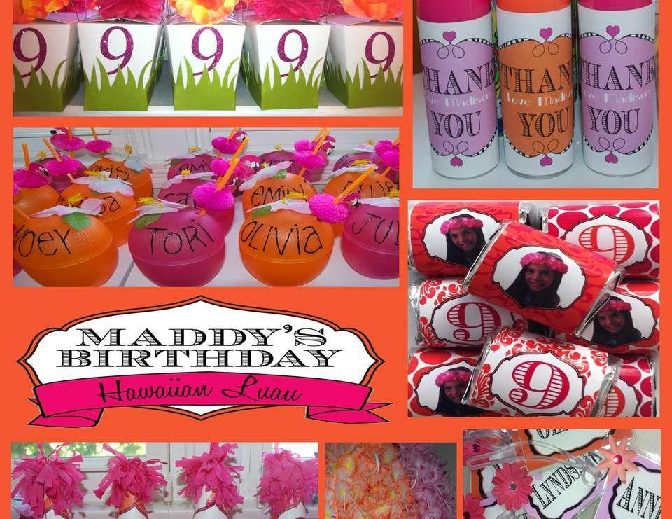 Orange Pink Hawaiian Birthday For A 9 Year Old
