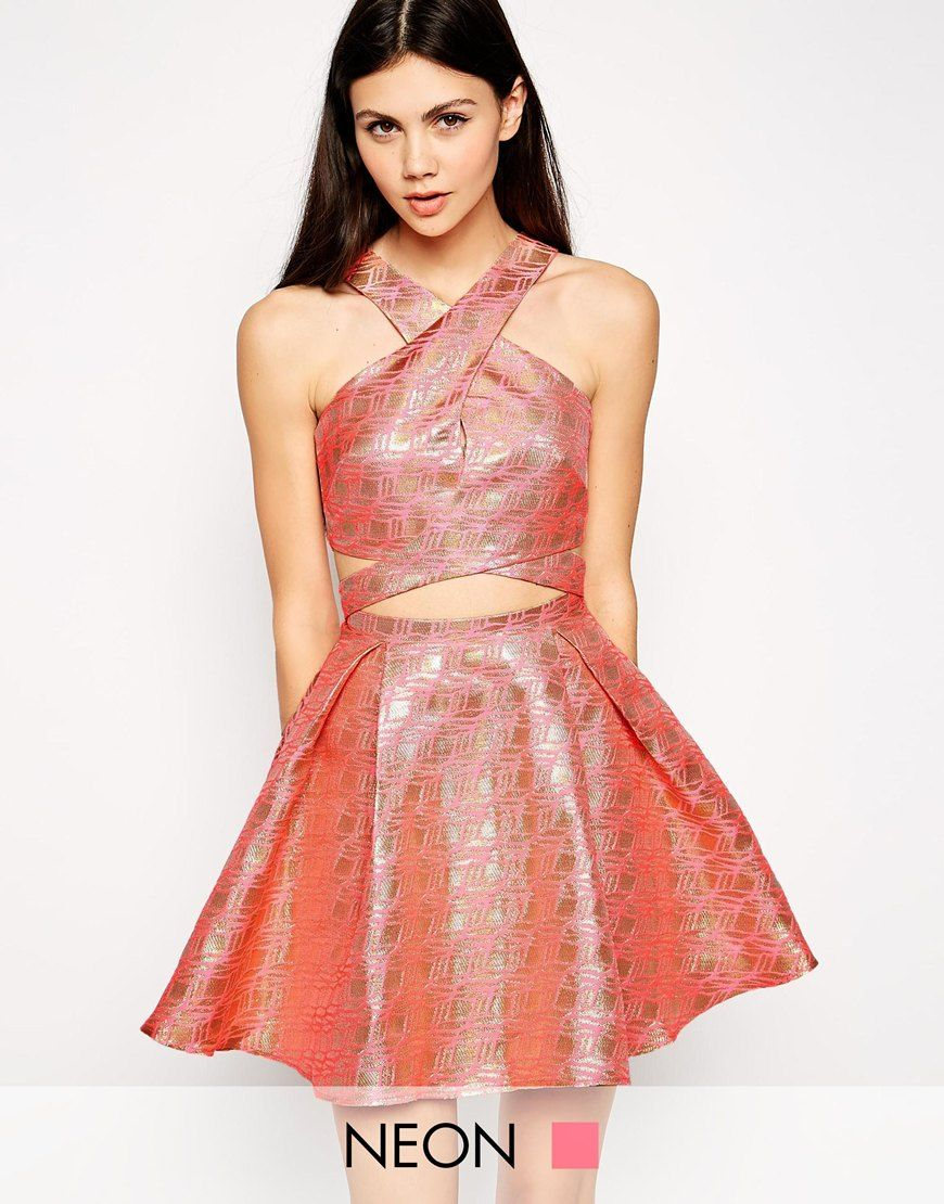 Lashes of London Geo Jacquard Prom Dress with Cross Front