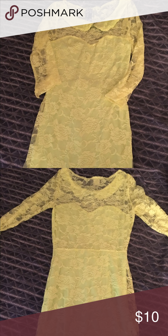 Neon lace dress Sz Small Neon yellow lace minidress. Lace has a flower print with solid stretch lining underneath. Never worn Dresses Mini