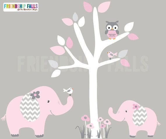 mini jungle decals, small elephant wall decal, nursery wall decal