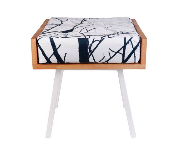 Solid panel Wood Stool with metal Legs