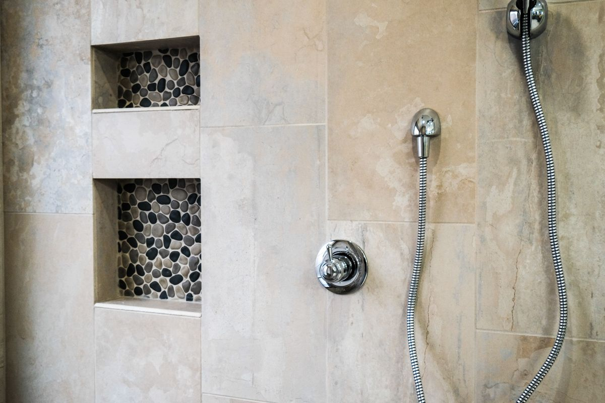 Love These Shampoo And Soap Niches On The Shower Wall The Pebble Recessed Area Matches The