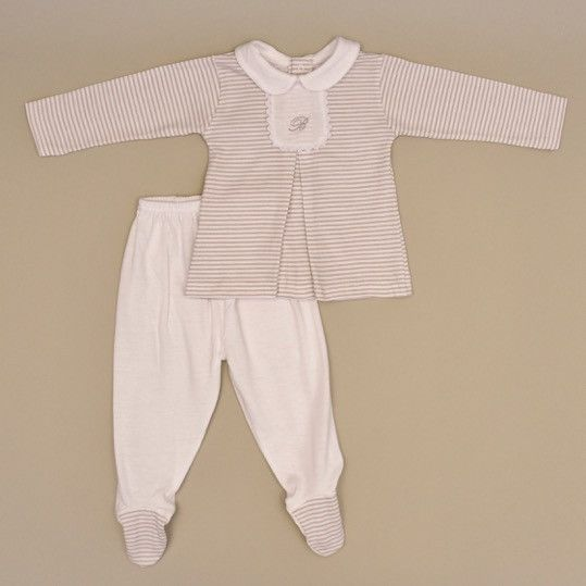 0d67ddf39182 Beige and White stripped 100% Cotton Baby Long Sleeve White Collar ...