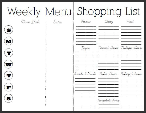 7 Essential Menu Planning Tips and Free Menu and Recipe Printable - Printable Weekly Menu Planner With Grocery List