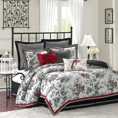 Beautiful Black And White Bedding With Red Accent Birds Fl