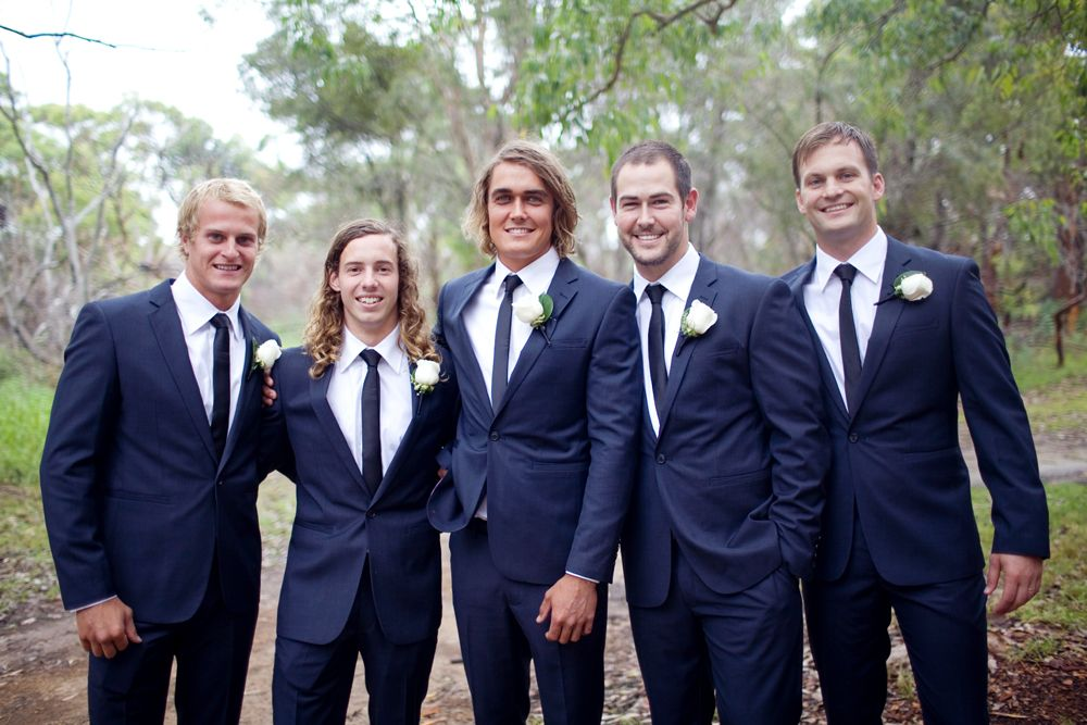 groomsmen ties with navy suits and bridesmaids in navy - Google ...