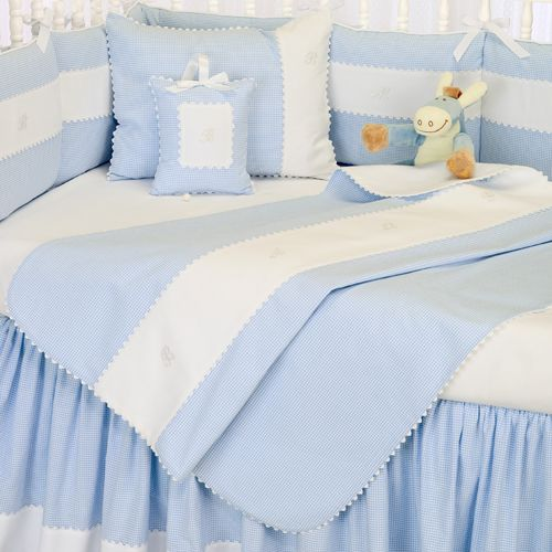 Embroidered Blue Gingham Baby Bedding