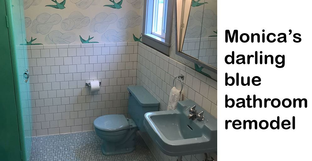 Photo of Monica's retro bathroom has been remodeled around a blue Crane Oxford tub, sink, and toilet – Retro Renovation