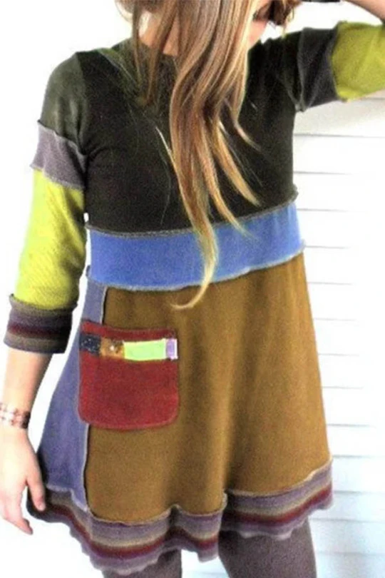 Vintage knit long sleeve dress Color blocking dress