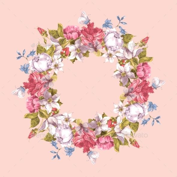 Invitation Card With Floral Wreath Floral Wreath Floral Border Design Frame Wreath