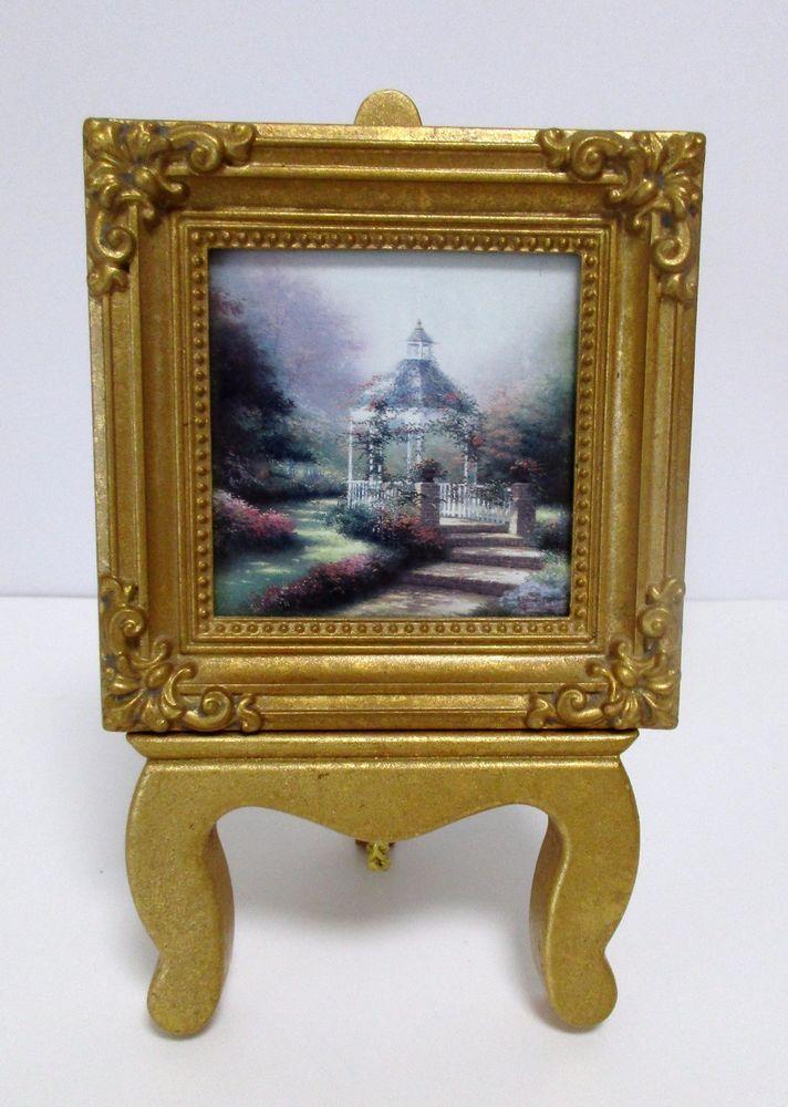 Thomas Kinkade Miniature Print Hidden Gazebo Gold Frame on Gold ...