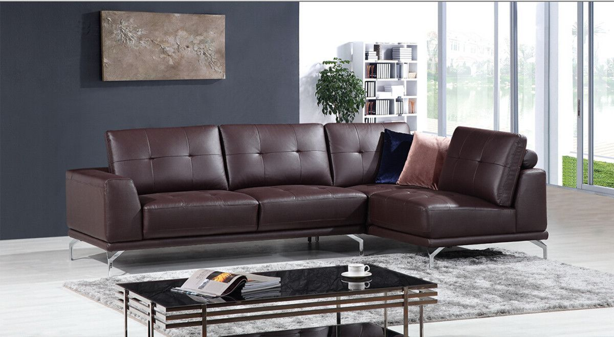 Divani Leather Sofa For Sale Divani Casa K8210 Modern Brown Eco Leather Sectional Sofa Modern