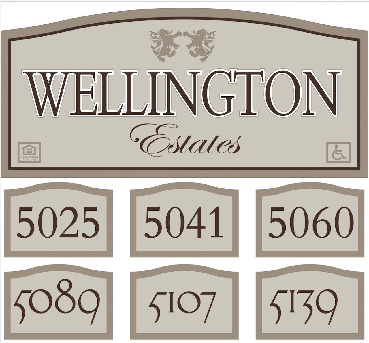 numbers signs for wellington estates subdivision outdoor signage