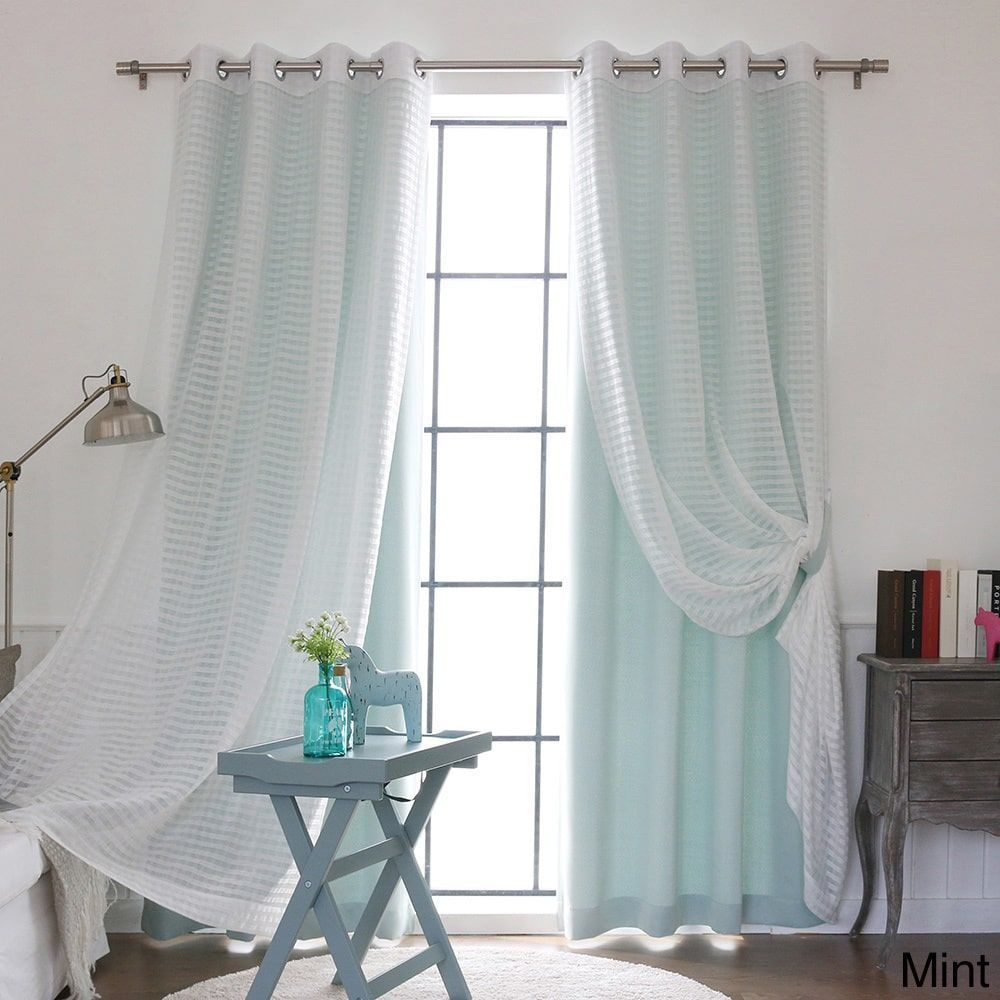 Aurora Home Mix And Match Blackout Check Sheer Silver Grommet