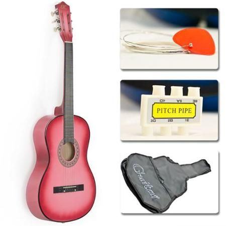 New Beginners Acoustic Guitar With Guitar Case Strap Tuner And Pick Pink Acoustic Guitar Kits Acoustic Guitar Guitar Kits