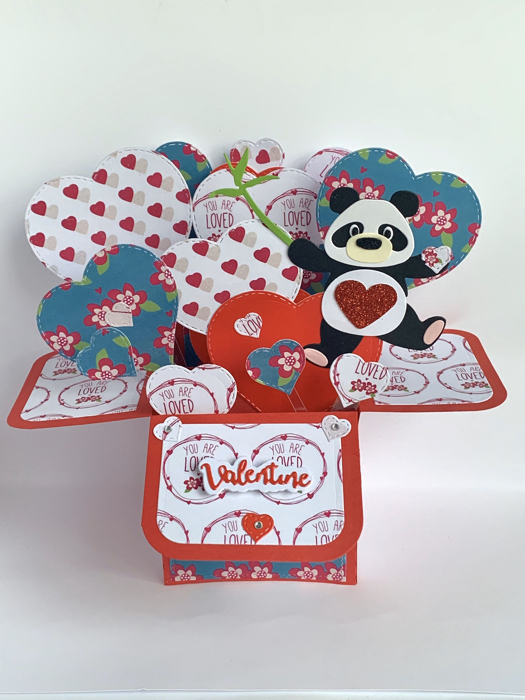 Panda Valentine Card 3d Card Exploding Box Card Pop Up Etsy In 2020 Valentines Cards Exploding Box Card Pop Up Valentine Cards