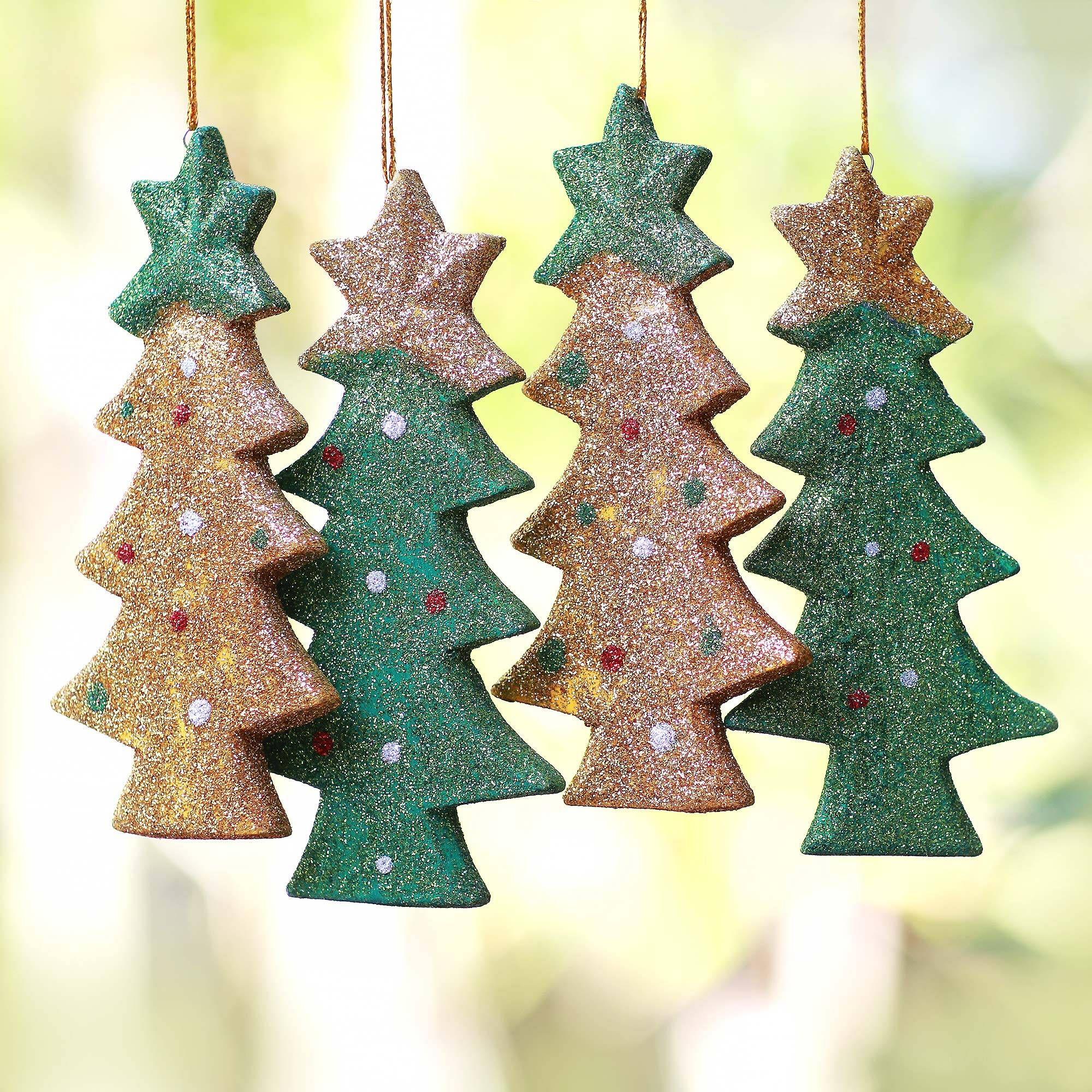 Wood Ornaments Sparkling Christmas Trees Set Of 4 In 2020 Christmas Tree Ornaments Wood Christmas Tree Christmas Ornaments To Make