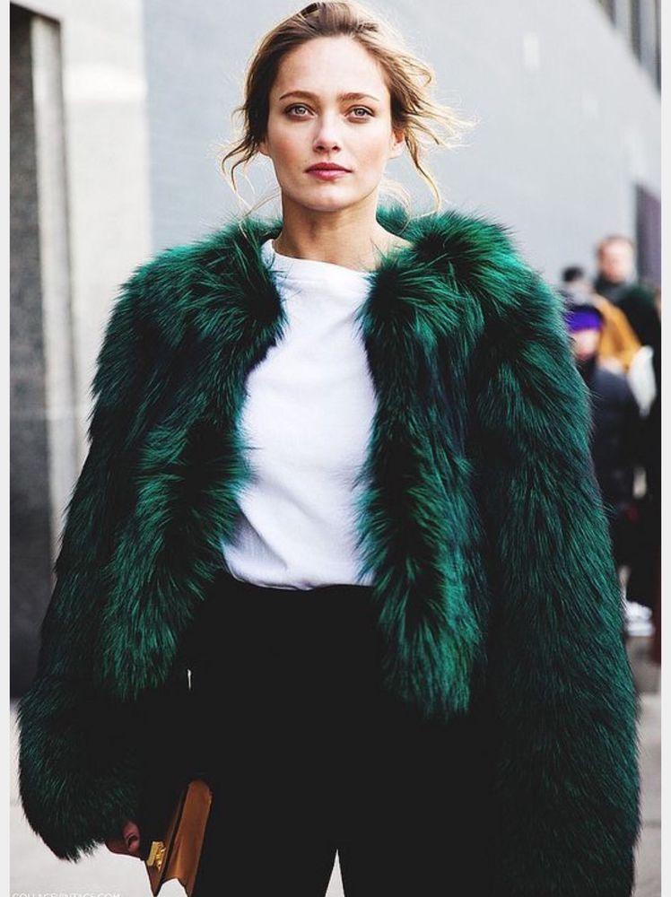 Green fake fur coat