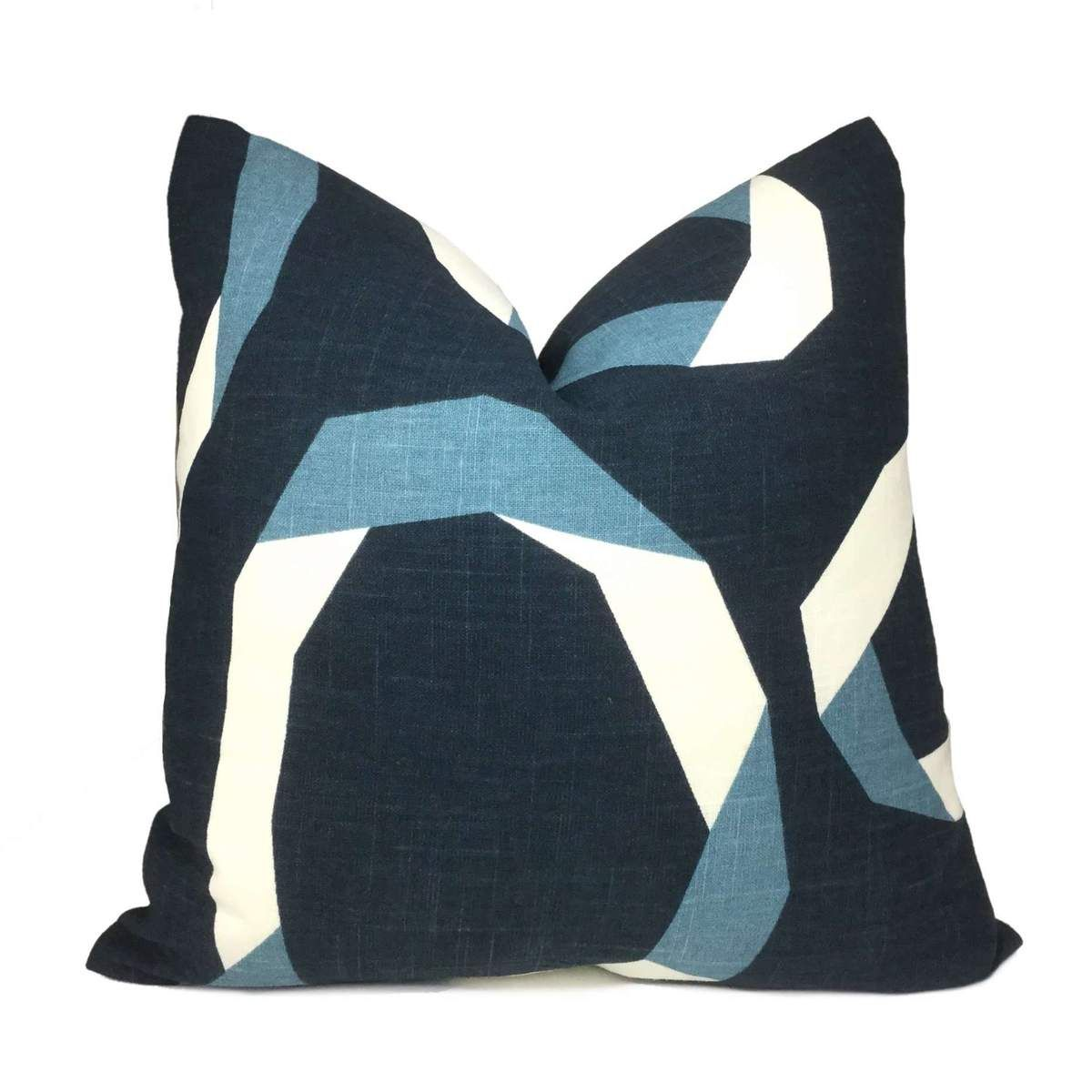 Robert allen vento ribbon blue white pillow cover in pillows