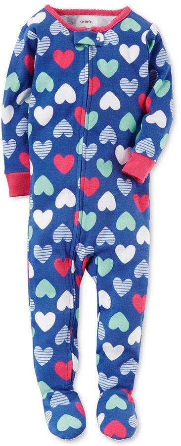 26ecc9d6e Carter s 1-Pc. Heart-Print Footed Pajamas