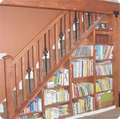 Bookshelf Under Stairs    I Like The Idea And The Use Of Dead Space,