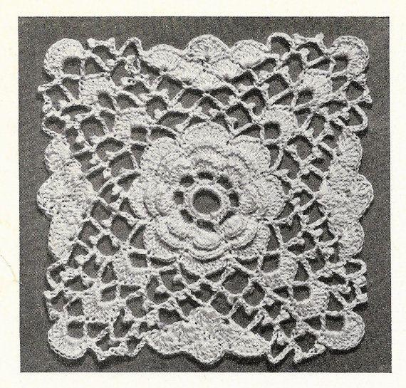 Bedspread Crochet Pattern, 40s Rose Motifs, Vintage Crochet Blanket Pattern, Retro Crochet Pattern, PDF Patterns, Instant Downloads
