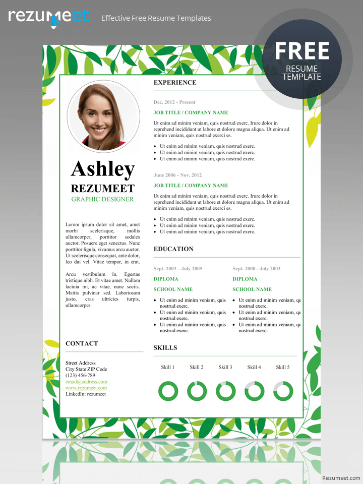 Free Floral Resume Template Resume Template Free Resume Template Resume Design Template