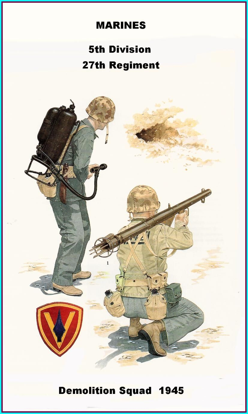 USMC - 5th Division - Demolition Squad at Iwo Jima - 1945