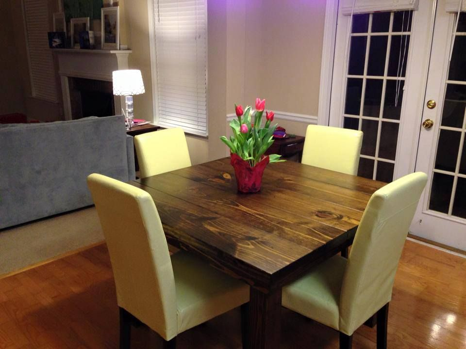 This Square Farmhouse Table Seats 4 Comfortably Pictured