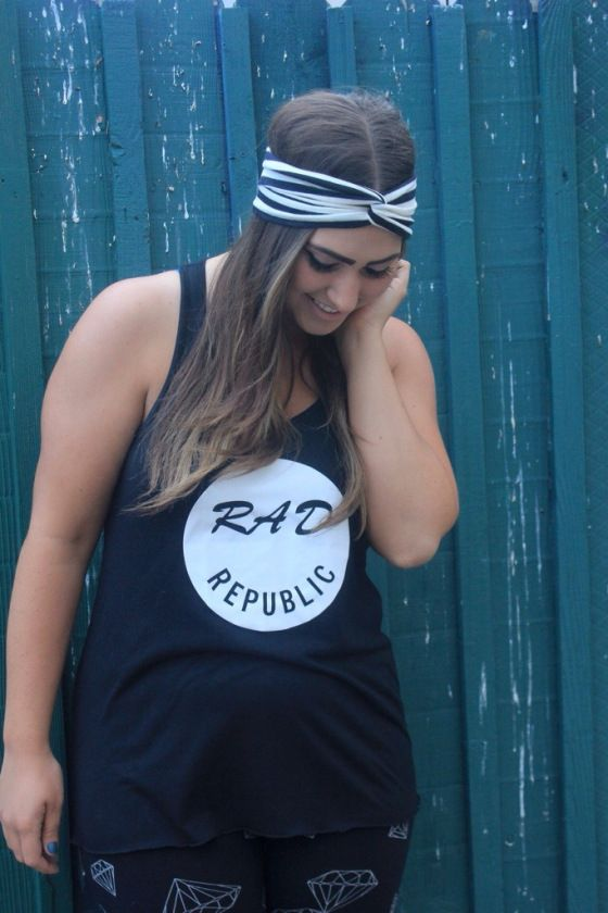 rad republic threads tank with diamond leggings outfit and monroe & harlow black and white striped turban headband