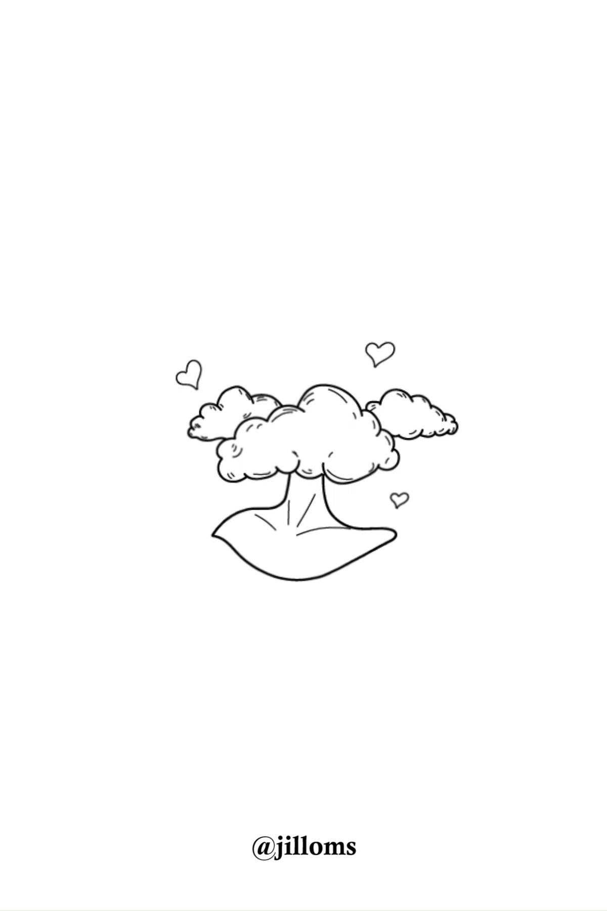 Minimalist Drawing of Head in the Clouds
