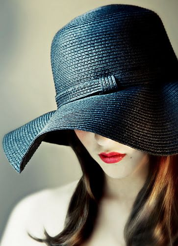 Blue Hat Red Lips Fashion Floppy Hats Hats For Women