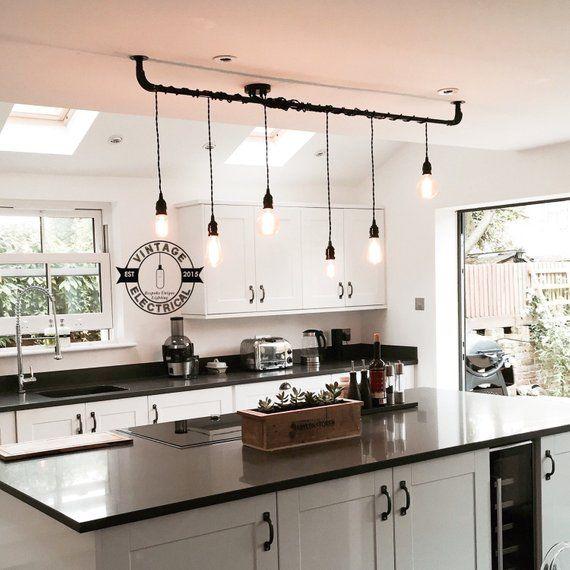 The Burnham 6 X Pendant Drop Light Hanging Lights Ceiling Dining Room Retro Kitchen Table E27 Vintage Edison Filament