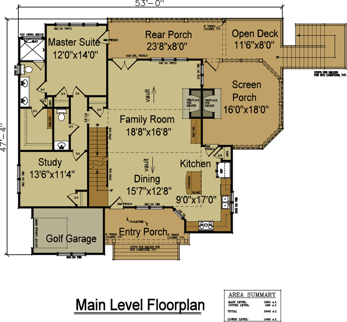 Rustic Kitchen Floor Plans: 4 Bedroom Rustic House Plan With Porches In 2019