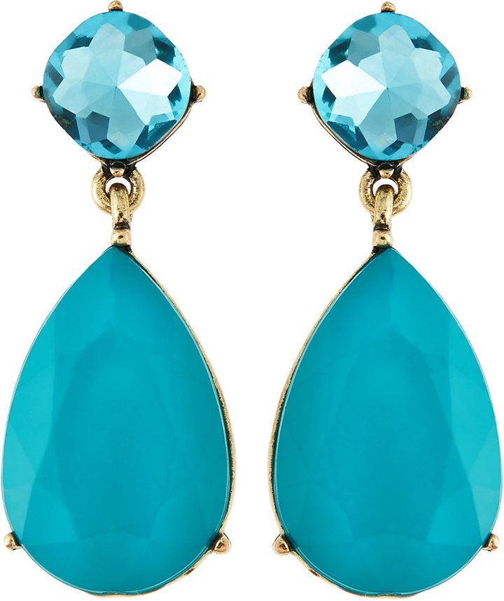 Greenbeads Crystal Double-Drop Earrings, Turquoise