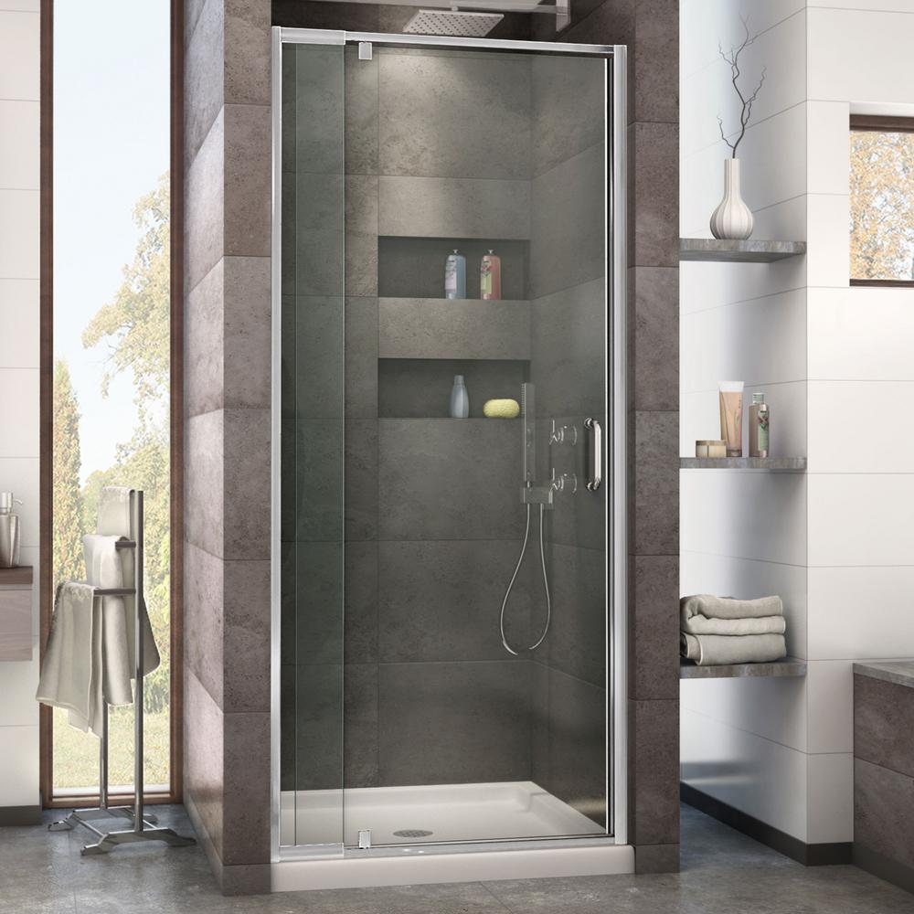 Dreamline Flex 32 In X 32 In X 74 75 In Framed Pivot Shower Door In Chrome With Center Drain White Acrylic Base Products Shower Doors Framed Shower Doo