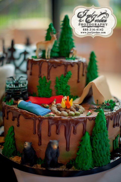 Camping Grooms Cake Amanda Snelson Benguerel Ideas For This One Has Too Much Detail But Cute
