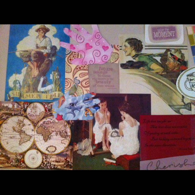 Repurposed calendar pictures and scrap papers - wall of my sewing